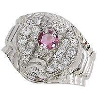 プレジュール スネーク リング コブラ メンズ ピンクトルマリンリング K10ホワイトコーティング 蛇 指輪 リングサイズ17号