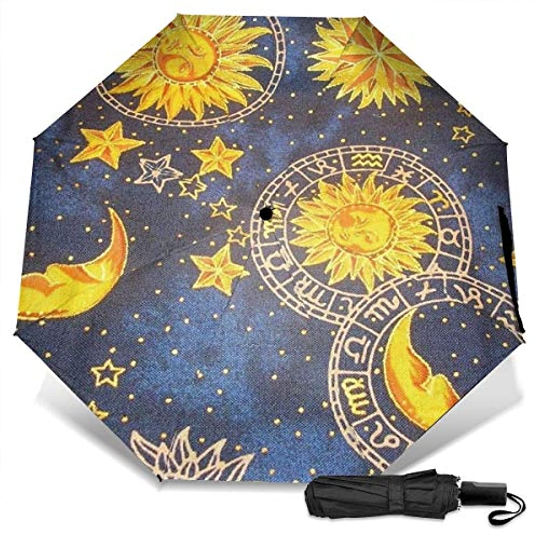 ガレージ当社ウェイター日月星の宇宙星雲折りたたみ傘 軽量 手動三つ折り傘 日傘 耐風撥水 晴雨兼用 遮光遮熱 紫外線対策 携帯用かさ 出張旅行通勤 女性と男性用 (黒ゴム)