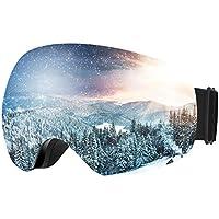 Patech スノーゴーグル スキーボード 99%UVカット 曇り防止 男女兼用 球面レンズ 防風/防雪/防塵 山登り/スキーなど用