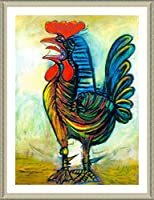 "Alonlineアート–The Rooster Pablo Picasso Framedのコットンキャンバスホーム装飾壁アート博物館品質フレームをハングアップする準備フレーム 21""x30"" - 53x76cm (Framed Cotton Canvas) VF-PCS112-FCC0F15-1P1A-21-30"
