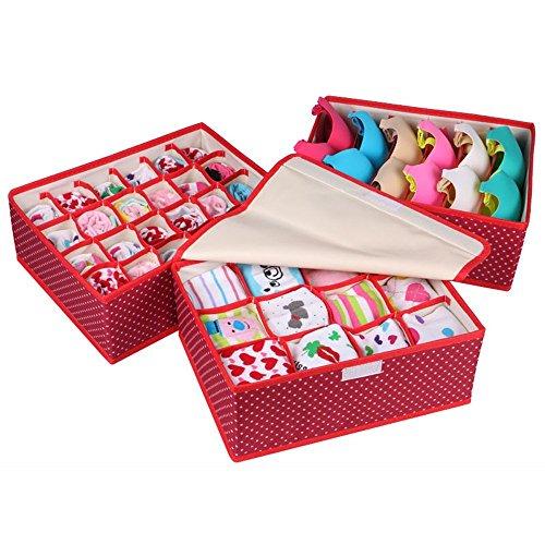 【Pedonir】3個セット 水洗い可 収納ボックス 収納ケース 仕切りケース 下着 ショーツ 収納 蓋付け ブラジャー 靴下 ランジェリー (レッド)