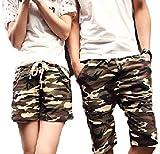 (アルファーフープ) α-HOOP カモフラ ペアルック 迷彩 柄 ハーフ ショート ファッション パンツ 短パン S ~ XXL 大きいサイズ メンズ レディースファッション AA29(07.レディース.(Mサイズ))