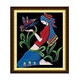 クロスステッチ 刺繍キット民族少女と蝶々