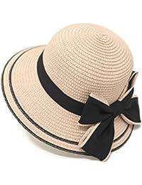 Yaojiaju 夏ストロー帽子、ファッションサンプロテクションビーチアウトドアフロッピー夏サンビーチ帽子女性レディース