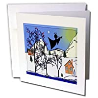 SmudgeArt All Thingsクリスマス–エンジェルシルエット1–グリーティングカード Set of 12 Greeting Cards