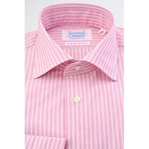 (スキャッティ) Scented ピンク地 白抜き ストライプ 綿100% ワイドカラー (細身) ドレスシャツ wd4148-3882