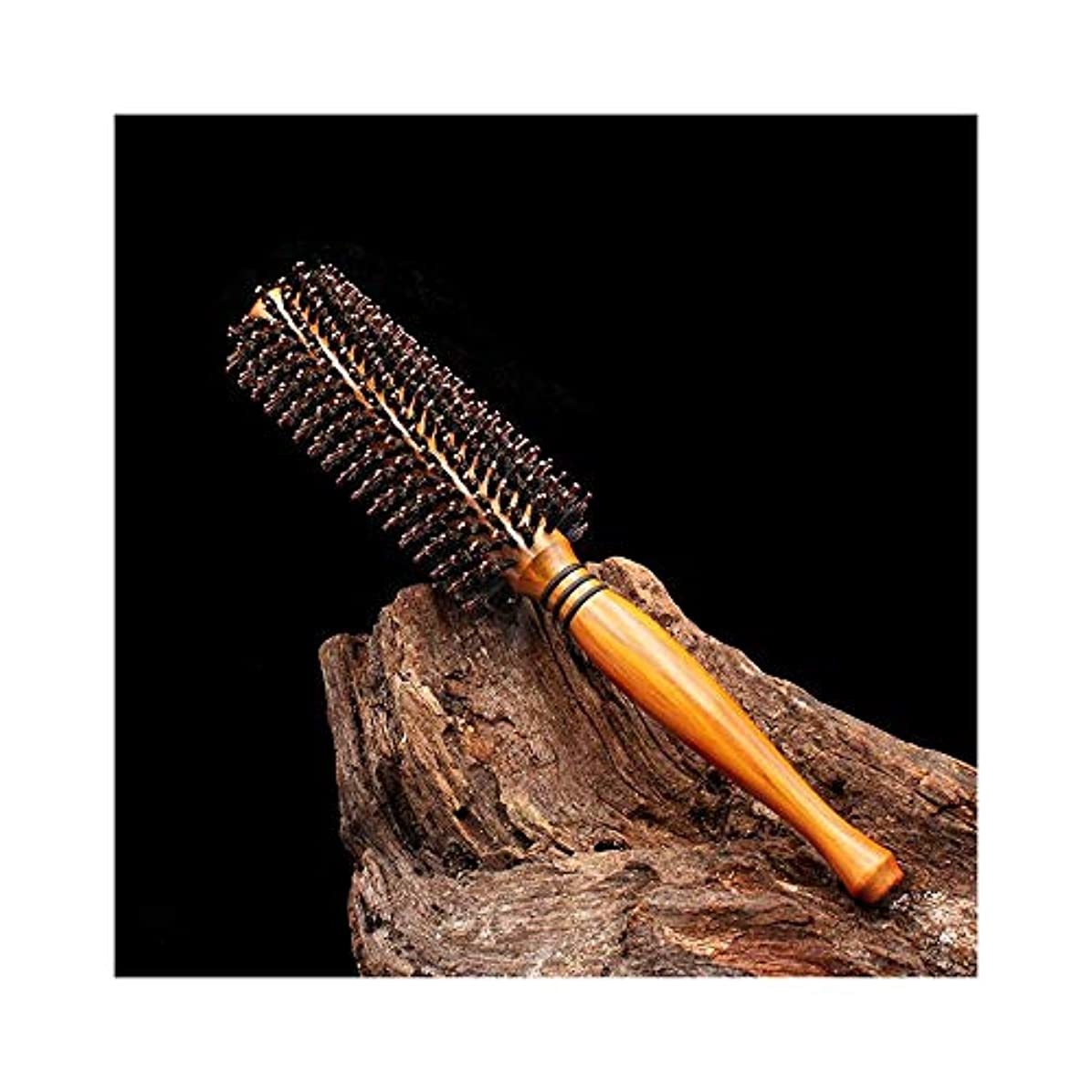 アサー口頭助けになるWASAIO ヘアブラシ木製ローリングコームブロー乾燥乾燥イノシシ毛コームラウンドヘアブラシ (Design : Twill, サイズ : M)