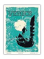 ヴェネツィア、イタリア - ヴェネツィアゴンドラ - ビンテージな世界旅行のポスター c.1960 - アートポスター - 23cm x 31cm