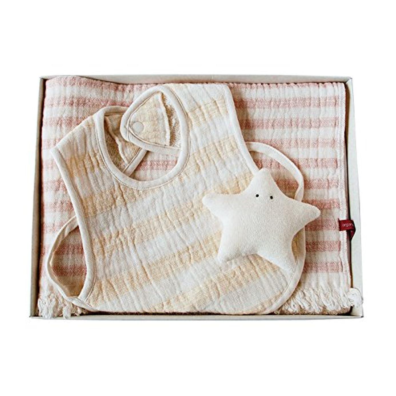 物理的に累積大気オーガニックコットン天衣無縫 スラブガーゼ フェイスタオル&スタイ ほしセット ピンク