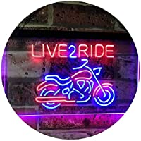Live to Ride Motorcycle Motorbike Garage Man Cave LED看板 ネオンプレート サイン 標識 Red & Blue 300mm x 210mm st6s32-i2642-rb