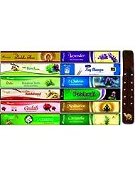 aromatika 12 Assorted Masala Incense Sticks with 10インチLong木製香炉
