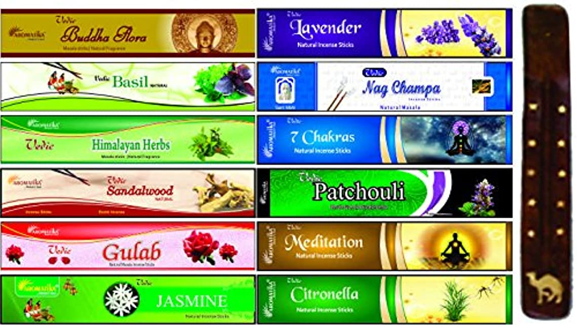 メンバー招待診断するaromatika 12 Assorted Masala Incense Sticks with 10インチLong木製香炉