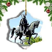 Weekinoスカンデルベグ広場ティラナアルバニアクリスマスオーナメントクリスマスツリーペンダントデコレーション旅行お土産コレクション陶器両面デザイン3インチ