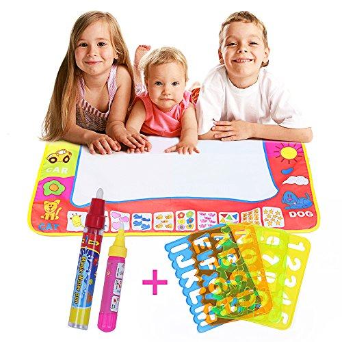 Farway スイスイおえかき 4色カラフル 80*60cm 大きいサイズ ペン2本と絵描き型4枚付き 水だけで絵を描く 落書き 子供 知恵道具 知育おもちゃ ぬりえ