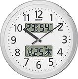 CITIZEN ( シチズン ) 電波 掛け時計 パルウェーブカレンダージムF 温度 湿度 カレンダー 付 オフィス タイプ シルバー 4FYA06-N19
