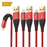 TOPK【3本セット 1M】 USB Type C ケーブル USB Cケーブル - QC3.0急速充電/高速データ転送 高耐久ナイロン 断線防止 金メッキコネクタ USB 充電ケーブルS8/S9/S8+、Huawei、Xperia、LG、Moto各種 その他タイプC機器対応 USB-A to USB-C ケーブル(レッド)