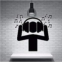 Wsqyf 黒無毒Pvc素材ウォールステッカーファンDj音楽ヘッドフォンサウンドウェーブノートウォールステッカー家族の音楽パーティーの装飾42×43センチ