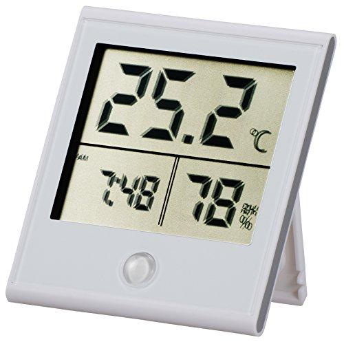 OHM 時計付温湿度計 白_TEM-210-W 08-0091