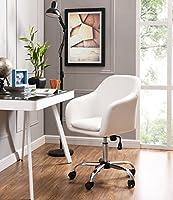 ホームオフィス椅子Executive Mid Backコンピュータテーブルデスク椅子回転高さ調整可能人間工学withアームレスト ホワイト