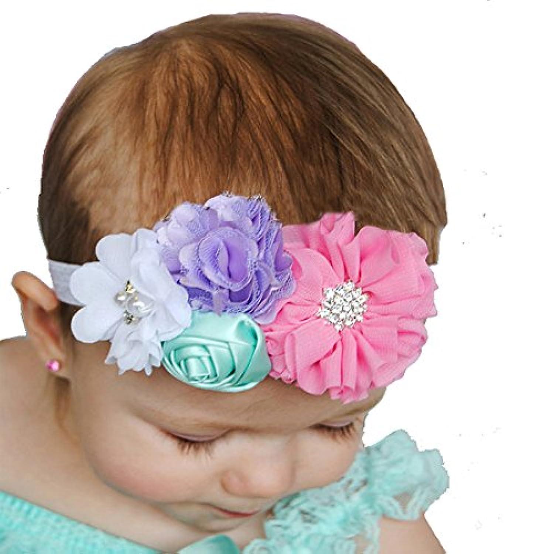 miugleベビーガールズフラワーヘッドバンド幼児ラインストーンヘアバンド幼児用ヘッドギア