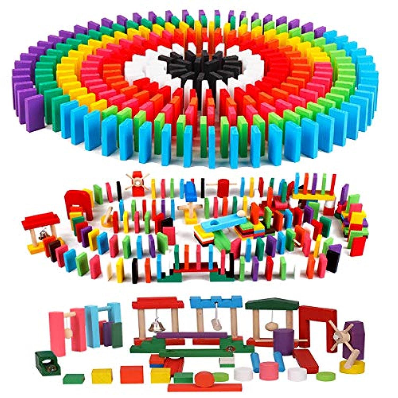 AISFA 積み木 ドミノ倒し 知育玩具 360個 ギミック 仕掛け 20種セット 木製 カラフル こども 誕生日 プレゼント 並べる用道具と収納袋 セット