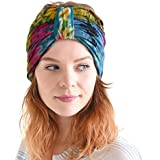 Casualbox - Tie-Dye Winter Headband - Hippie Fashion - Elastic Head Wrap Cover - 60's 70's Retro Costume Bandana - Psychedelic Flower Pattern Pre-tied Headband Boho Hair Band Summer Mens Womens Head Tie Wrap Sports Hippie