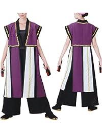 【よさこい衣装?袢纏?法被】袖なしおどり袢天 紫/白 B8564