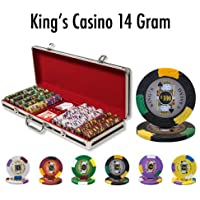 500 Ct King 's Casino 14 Gram Poker ChipセットW /ブラックアルミケース