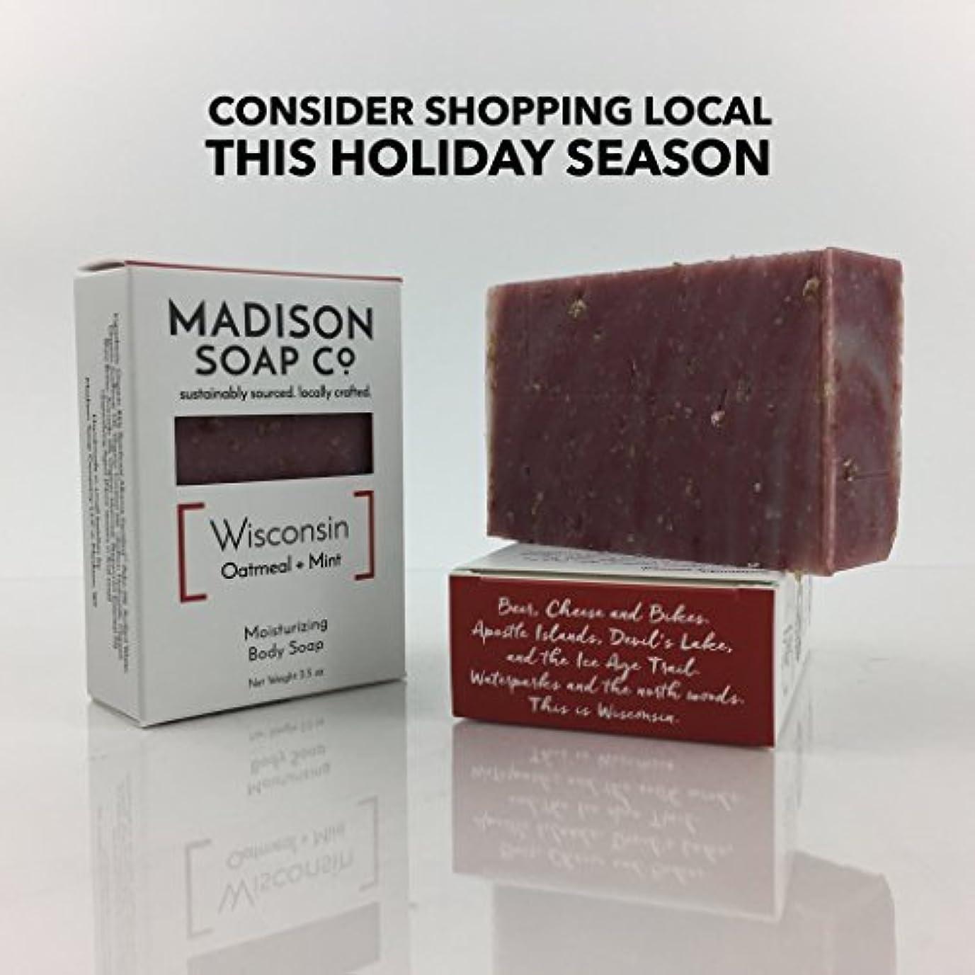 周囲取り扱い大学Wisconsin Oatmeal + Mint Organic Vegan Certified Small-Batch Artisanal Moisturizing Handmade Bar Soap with Shea...