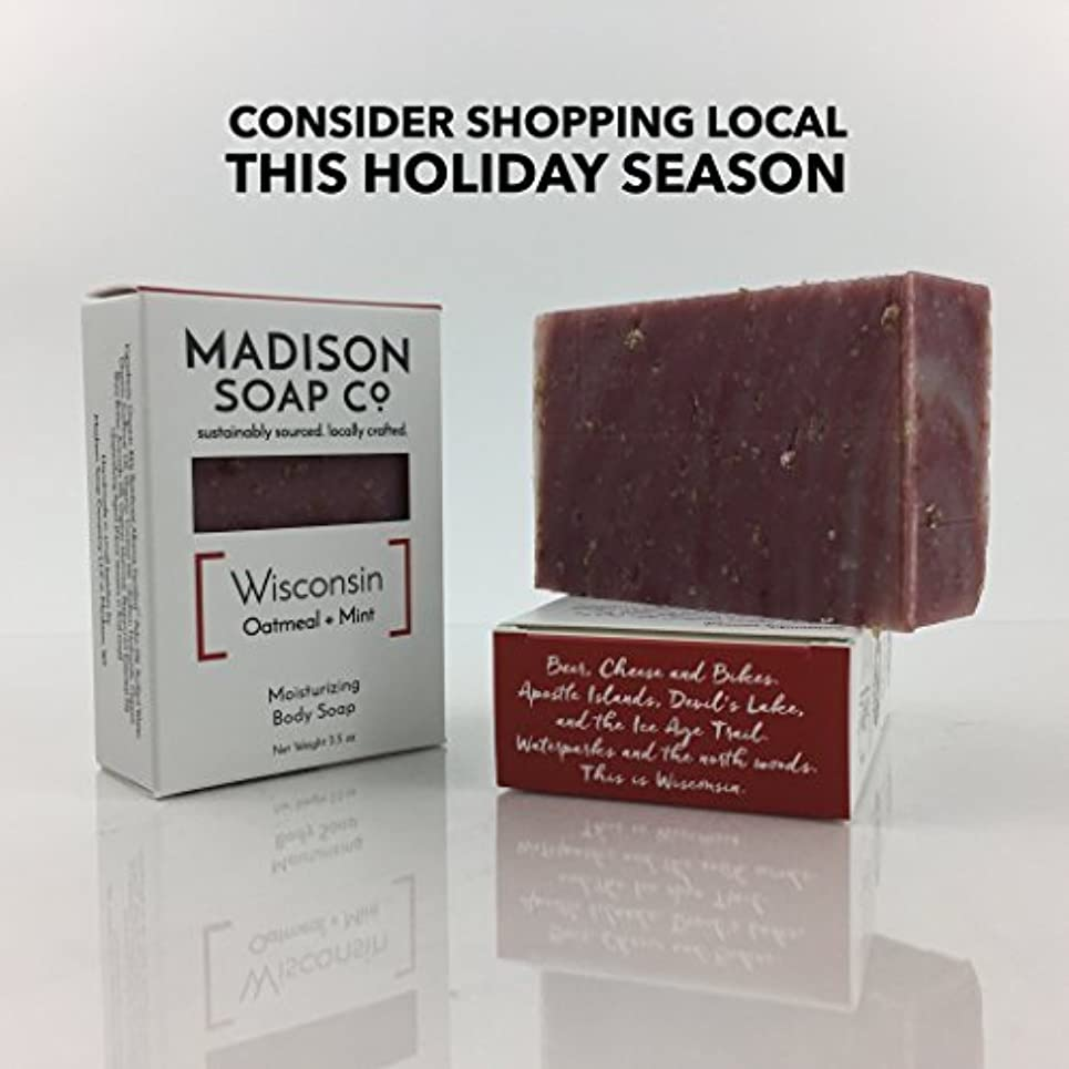 ペンダントセグメント含むWisconsin Oatmeal + Mint Organic Vegan Certified Small-Batch Artisanal Moisturizing Handmade Bar Soap with Shea...