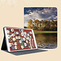 iPad Mini ①/②/③ ケース 超薄型 超軽量 TPU ソフト PUレザー スマートカバー 二つ折り スタンド スマートキーボード対応 キズ防止 部分的に空の雲と晴れた日の白樺と穏やかな湖のある森の風景