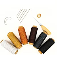 (インタートイボ) INTERTOYBO 蝋引き糸 レザークラフト ワックスコード 50m 15点 セット 革用 レザー 糸 紐 ロウ引き DIY 針 手作り 裁縫 0.8mm 幅