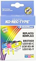 Brother LC61CMY、3-Pack(シアン/マゼンタ/イエロー)用Ko-Rec-Type CPBR61-Xプレミアム対応インクジェットカートリッジ
