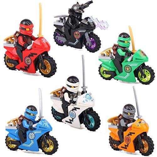 忍者 ゴー ミニフィグ ブロック 6体 + バイク 6台 セ...