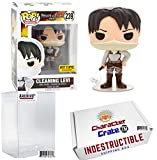 Levis Funko POP 。Attack On TitanクリーニングLevi Vinyl Figure , Hot Topic Exclusive、ConciergeコレクターGradeアーカイブバンドル