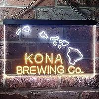 Kona Brewing Beer LED看板 ネオンサイン バーライト 電飾 ビールバー 広告用標識 ホワイト+イエロー W30cm x H20cm