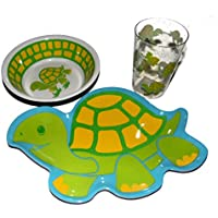 Turtle Childrens食器セット、プレート、ボウル、タンブル、メラミンWares