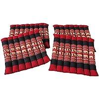 タイのゾウさん刺繍アジアンロール座布団4枚セット Mサイズ 赤×黒 レッド×ブラック W=34cm×L=34cm=H=5cm