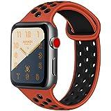 ATUP コンパチブル Apple Watch バンド 44mm 42mm 38mm 40mm、ソフトシリコン交換用リストバンド iWatch Series4/3/2/1に対応、iWatchは含まれていません (38/40 M/L, 赤/黒)