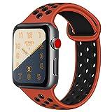 ATUP コンパチブル Apple Watch バンド 42mm 38mm 44mm 40mm、ソフトシリコン交換用リストバンド iWatch Series4/3/2/1に対応、iWatchは含まれていません (38/40 M/L, 01 赤/黒)