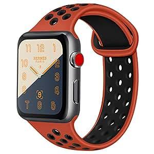 ATUP コンパチブル Apple Watch バンド 42mm 38mm 44mm 40mm、ソフトシリコン交換用リストバンド iWatch Series4/3/2/1に対応、iWatchは含まれていません (38/40 S/M, 01 赤/黒)
