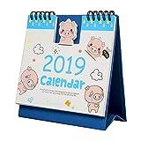 カレンダー 2019年 卓上カレンダー 日めくり カレンダー 豚年 カレンダー 可愛い デザイン 少女心 プレゼント 文房具 オフィス用品 (ブルー)
