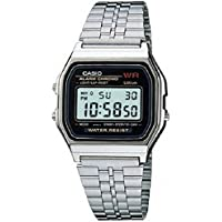 Casio A159W-N1 Vintage Retro Silver Stainless Steel Unisex Digital Watch