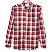Goodthreads Men's Slim-Fit Long-Sleeve Doubleface Shirt, Red Navy Buffalo with Chambray Medium