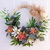 SYLOTS Artificial Succulent Wreath Door with Knotted Bow, Leaves Wreath Succulent Plants Hanging Wall Window Party Decoration