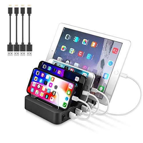 Sennic USB充電スタンド 収納充電 4ポート 同時充電 USB充電ステーション 2.4A 充電スタンド iPhone iPod iPad Android スマホ/タブレット対応 4本USB充電ケーブル 付き