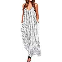 StyleDome Women Dresses Summer Sexy Casual Loose Sleeveless V Neck Party Long Boho Maxi Dresses Sundresses Plus Size