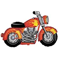 loonballoon Motorcycle Harley Davidson Hogバイクブラックオレンジ炎45