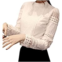 Smile fish Women Hollow Out Back Zipper Lace Long Sleeve Elegant Blouse(US0-US14)