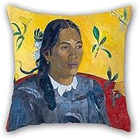 loveloveu 18x 18インチ/ 4545CM油彩画ポール・ゴーギャン作–Tahitian Woman with a花枕カバー、ダブルサイドは、フィットforバレンタイン、子供男の子、父、彼女、ティーンFestival